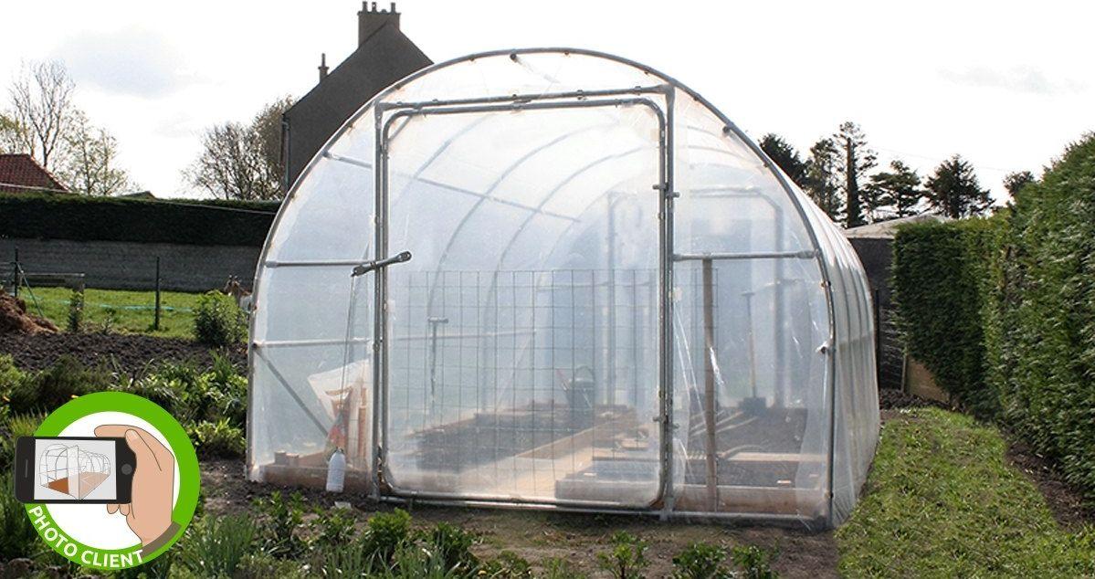 serre tunnel de jardin avec pieds coud s ancr s. Black Bedroom Furniture Sets. Home Design Ideas